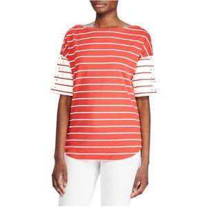 NWT Ralph Lauren | Red Striped Lace Short Sleeve
